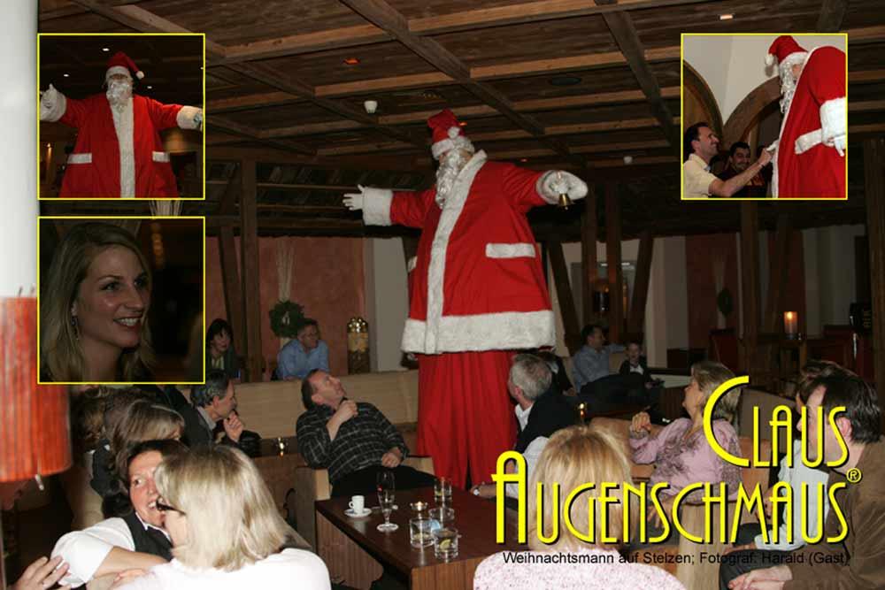 Aus Karlsruhe den Clown buchen als Nikolaus auf Stelzen.