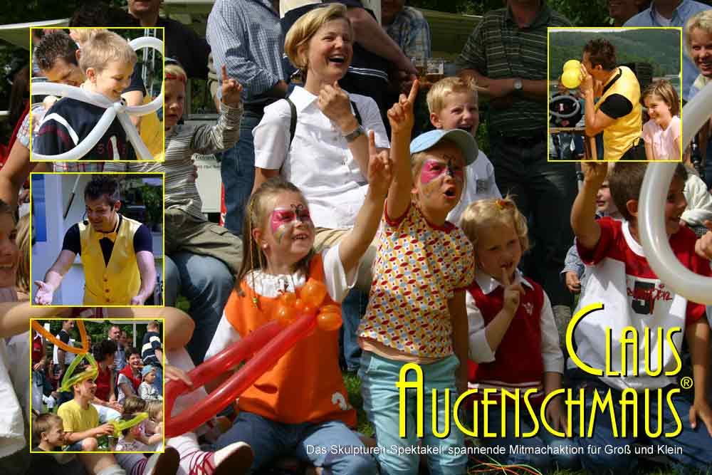Clown Luftballon-Figuren-Spektakel zum Mitmachen.